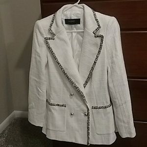 Zara white tweed blazer size M